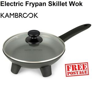 Kambrook Electric Skillet Wok Frypan with Lid 24cm 10 Heat Settings Glass Lid
