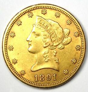 1891-CC Liberty Gold Eagle $10 - Choice AU / UNC Detail - Rare Carson City Coin!
