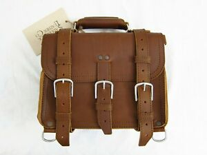 """Saddleback Leather 12"""" SMALL CLASSIC BRIEFCASE Tobacco Suede-Lined 2-Rivet"""