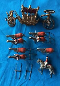 Vintage BRITAINS Lead, Set 1470 Stage Coach Coronation Set, Damaged parts Lot,