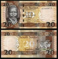 SOUTH SUDAN 20 Pounds, 2017/2018, P-13, UNC World Currency