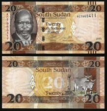 South Sudan 20 Pounds, 2018, P-13, John de Mabior/Antelope, Unc World Currency