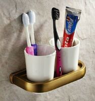 Antique Brass Wall Mounted Bathroom Double Cups Tumbler Toothbrush Holder Kba177