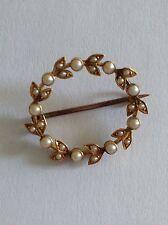 Pretty Victorian 15ct Gold Natural Seed Pearl Set Circular Brooch