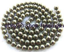 4mm Natural Smooth Round Pyrite Gemstone Beads 15""