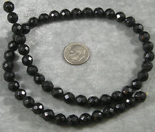 """Natural Jet Loose Beads 8mm Faceted Round Gemstone 16"""""""