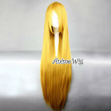Lolita Golden Blonde Long 100CM Straight Fashion Party Cosplay Wig + Wig Cap