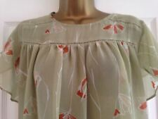 NEXT Sage Green Chiffon Angel Sleeve Floral Blouse Top Size 10