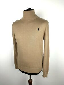 Polo Ralph Lauren merino wool roll neck turtle neck knitted jumper Camel Small