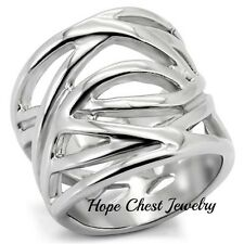 HCJ WOMEN'S STAINLESS STEEL INTERTWINED DESIGN FASHION WIDE BAND RING SIZE 6