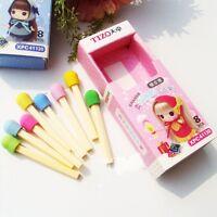 8 Pcs/Set Pencil Gift Cute Novelty Awarding Match Eraser Stationery Rubber