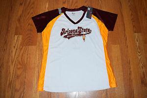 NWT Womens KNIGHTS ARIZONA STATE Sun Devils NCAA Short Sleeve V-Neck Shirt L