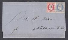 Hanover Sc 27, 28 on 1866 blue SFL invoice LÜCHOW- MÜLHEIM, blue boxed cancel,