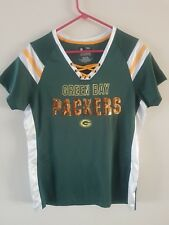 NFL Team Apparel Green Bay Packers Women s Short Sleeve Lace-Up V-Neck Shirt 54ccff804