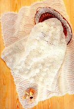 Scallops & Sea Shell Motif Baby Blankets DK Knitting Pattern
