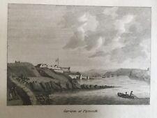 1787 Antique Print; Stonehouse Barracks, Plymouth, Devon