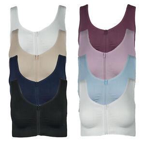 4er Pack Damen Komfort BH mit Reißverschluss Bustier Top Shirt BH