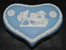 Vintage England Wedgwood Blue Jasperware Heart Trinket Box