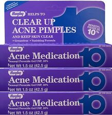 Rugby Acne Gel Benzoyl Peroxide 10% -1.5oz Tube -3 Pack -Expiration Date 04-2019