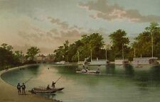 BARGES ON THE ISIS, OXFORD - Antique Chromolithograph Circa 1890
