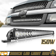 "30"" 150W LED Light Bar Hidden Grille For Chevy Offroad Driving 4WD Boat SUV"