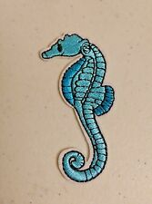 Blue Natural Seahorse Iron On Patch Applique 1.75 Inches