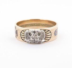 .A Gentleman's 14K Rose Gold Scottish Rite Freemasonry Enamel Ring Size X