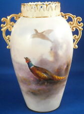 Antique Worcester Porcelain Stinton Pheasant Scene Vase Porzellan Scenic English