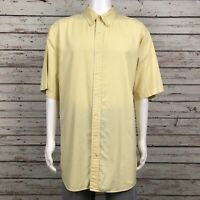 Daniel Cremieux Button Up Camp Shirt 2XLT Tall Tailored Yellow Blue Stripe