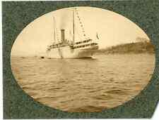 Norvège, bateau à vapeur  vintage print. Tirage argentique mat  6x9  Circa