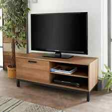 Detroit Large 1 Door TV Cabinet Plasma Bench Stand Unit Brown Walnut Black Metal