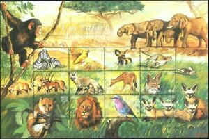 Angola Mint stamps in miniature sheet Fauna Wild Animals 2000  avdpz
