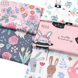 Easter Rabbit Bunnies Prints Fat Quarters 100% Cotton Fabric Bundle By The Metre