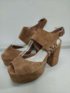 Jeffrey Campbell sandals, EU 38 UK 5, suede, brown, high block heel and platform