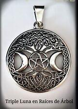 Triple Luna  Pentagrama Pagana Wicca Celta Colgante  Plata Ley 925 Arbol Vida