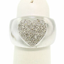 14k White Gold 0.25ctw Wide Band Pave Set Round Cut Diamond Heart Cluster Ring