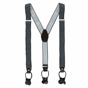 New CTM Men's 1.375 Inch Wide Dress Y-Back Button-End Suspenders