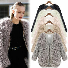 Women Fluffy Shaggy Faux Fur Cape Coats Jacket Winter Warm Cardigan Tops Outwear