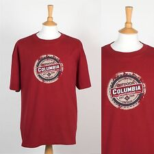MENS COLUMBIA BRAND T-SHIRT BURGUNDY CREW NECK DISTRESSED PRINT HIKING 2XL XXL