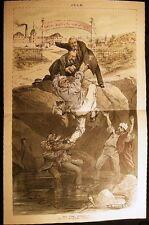 1886 LABOR ANARCHY VIOLENCE IDYLLIC CAPITALISM CARTOON PUCK COLOR DOUBLE PAGE