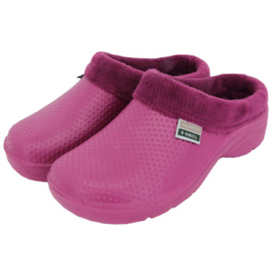 Town & Country Fleece Lined Cloggies Slip On Gardening Shoes, Raspberry - Size 6