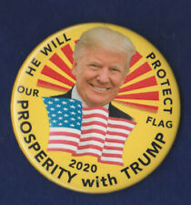 TRUMP  2020 ELECTION  PRESIDENT CAMPAIGN PIN   /   HE WILL PROTECT OUR FLAG