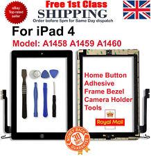 Reemplazo Para iPad 4 Negro Pantalla Táctil Digitalizador + Marco Bezel + Botón de Inicio Flex
