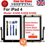 For iPad 4 Black Replacement Screen Touch Digitizer+Frame Bezel+Home Button Flex