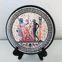 GREEK ART  POTTERY PLATE Decorative Hangable Hand Created Made in Greece