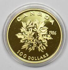 Canada 1986 proof maple 100 Dollars gold 0.5oz agw In mint capsule GL0148 combin