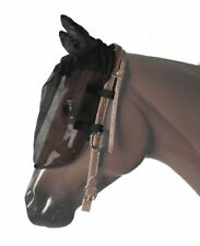 Horse Fly Mask Attaches to Bridle with Ears Black English Western Riding Flymask