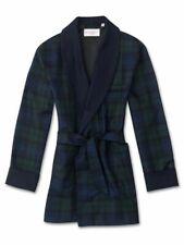 DEREK ROSE giacca da camera VESTAGLIA DA UOMO invernale LANA tartan BLU tg. M-XL