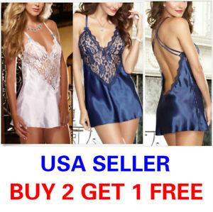 Size S - L Sexy Lingerie Women Satin Lace Silk Babydoll Nightdress Sleepwear E