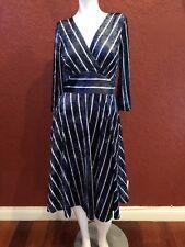 MODCLOTH  FIT & FLARE VELVET  DRESS BLUE SIZE S